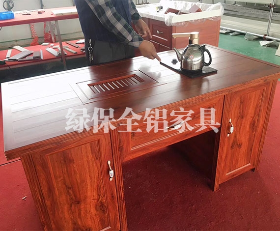 All aluminum desk